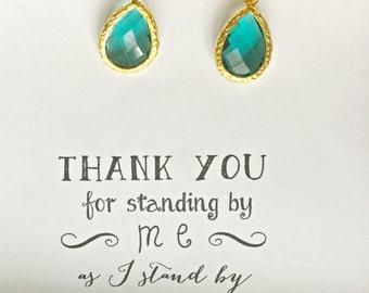 Green Bridesmaid Earrings, Bridesmaid Green Jewelry, Bridal Party Jewelry, Bridesmaid Green Wedding Earrings, Emerald Green Earrings, ES1