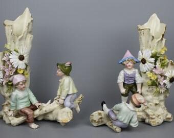 Antique 19C Sitzendorf couple of figurines