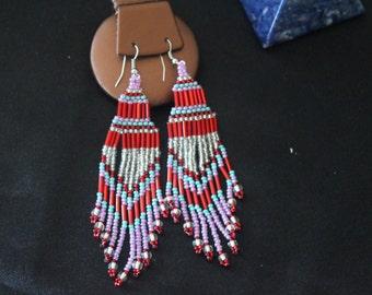 Chandelier Beaded Earrings- Red-Purple-Turquiose-Clear