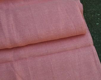 Salmon Coral Colored Linen Fabric