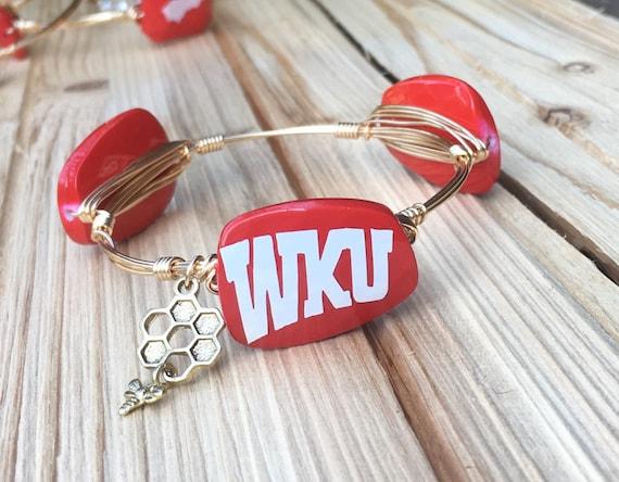 WKU bangle bracelet, Western Kentucky University bangle bracelet, Wire wrapped bangle, Ky Bangle, Kentucky Bracelet