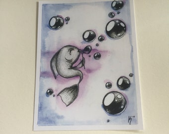 Watercolor Fish Print Blue and Purple