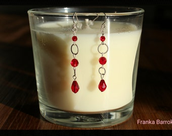 Red long silver earrings