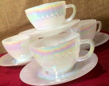 1960's -Set of 4 -Moonglow Cups and Saucers by Federal Glass, Iridescent, Opalescent, Mid Century