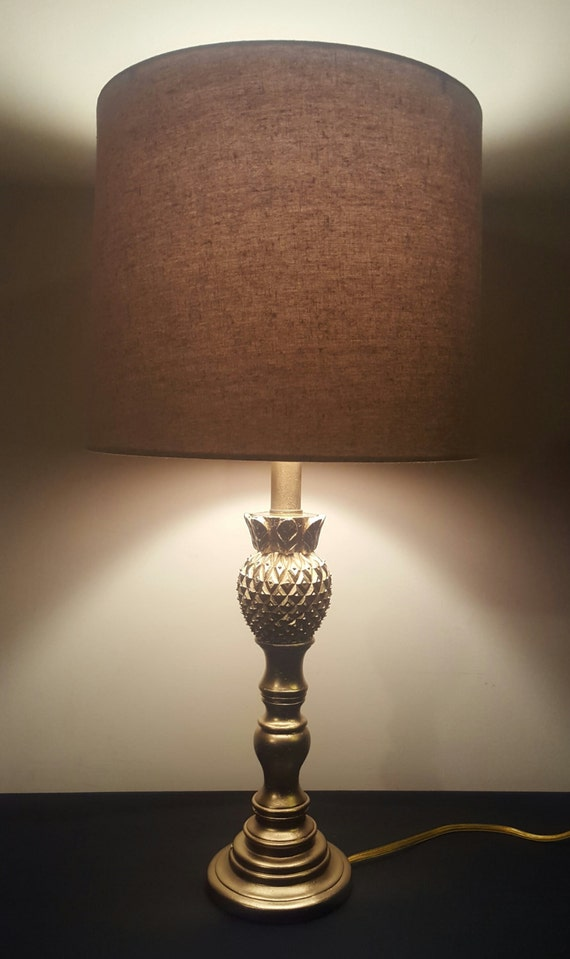 upcycled pineapple lamp base gold wood table lamp wooden. Black Bedroom Furniture Sets. Home Design Ideas