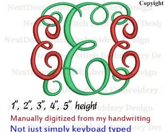 Alphabet embroidery, Vine Interlocking Monogram Embroidery Font, plus BX files, font-020d
