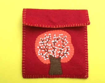 Felt Coin Purse, Red Coin Purse, Handmade Felt Coin Purse, Felt Coin Purse Blooming Tree