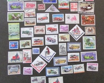 Lot of 50 Transportation Stamps Cars Trucks Motorcycles Postmarked Unused Worldwide Good for Crafts Scrapbooking Collage Decoupage Lot 1