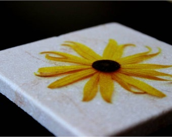 Black-Eyed Susan Coasters, Flower Coasters, Tumbled Marble Coasters, Waterproof Coasters 4 x 4 Tile