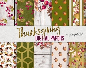 Thanksgiving Digital Paper-Thanksgiving Patterns-Fall Autumn Digital Paper-Backgrounds