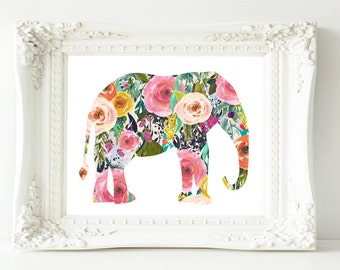 Printable Wall Art Elephant printable art Baby Girl Nursery decor Nursery art Boho nursery Elephant Nursery Print boho best selling items