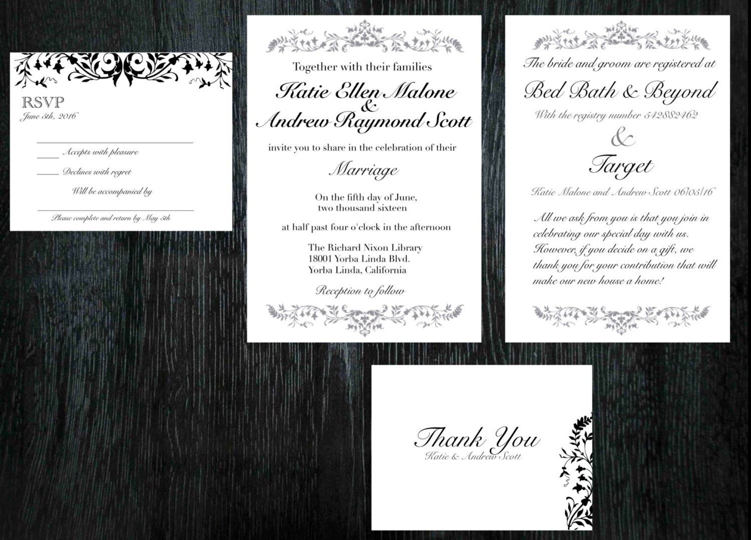 Elegant wedding invitations RSVP cards thank you cards or – Wedding Invitations with Rsvp Cards