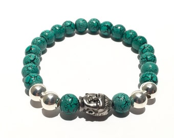 WIRED FOR MEN Silver Buddha and Green Textured Bead Stretch Bracelet.