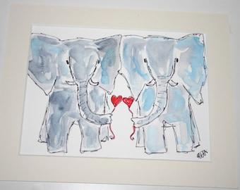 SALE Elephant watercolour, elephant painting, African animal, elephant original art, original art, elephant lover, elephant love