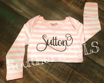 Custom Striped Baby Gown