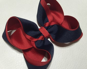 "4"" Boutique Hair Bow, Red and Navy Hair Bow, Girls Hair Clip ,Girls Hair Bow, Boutique Hair Bow ,Two Tone Color Hair Bow , Nautical Hair Bow"