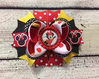 Minnie Mouse Boutique Bow Disney Boutique Hair Bow Minnie Mouse Hair Bow Minnie Mouse Hair Clip Baby headband Girls Hair Bow Clip