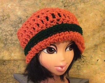 Girls orange pumpkin slouchy hat  20 inch