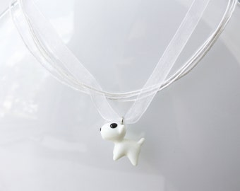 Lucky dog choker,white choker,dog necklace, layered necklace