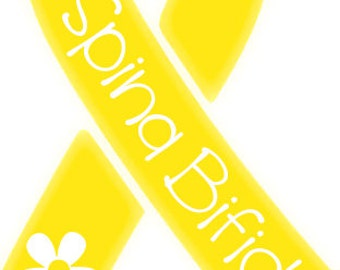 Spina Bifida Yellow Ribbon Vinyl Decal (with cutout daisy) *PRICE REDUCED*