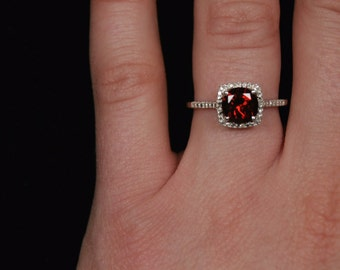 Garnet Birthstone Ring, January Birthstone, Red January Birthstone Ring, Sterling Silver