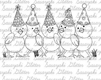 Party Chooks digital Stamps by Sasayaki Glitter