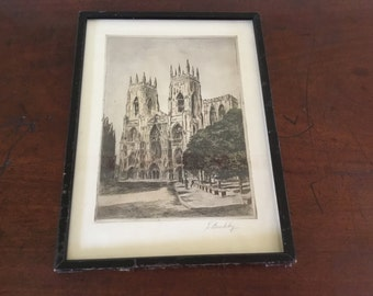 Aqua tinted original etching of York Minster