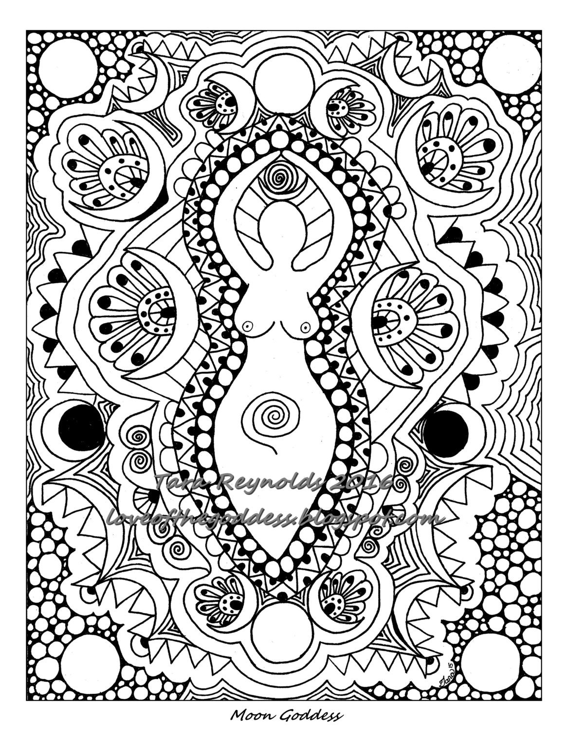 wicca coloring pages | Coloring Pages for Adults Goddess Coloring Page Pagan