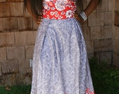 Floral Print Maxi Pleated Multi Color Floral Print White Red Grey Colored Womens Girls Skirt With Lining And Waistband On Sale