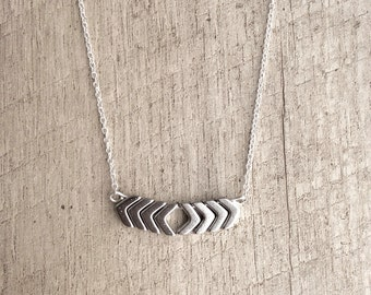 Silver Chevron Arrows Necklace, Chevron Necklace, Bar Necklace, Short Necklace, Rustic Modern Jewelry, Free Shipping U.S.