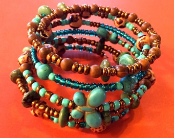 Boho Wire Wrapped Bracelet Turquoise and Copper Bracelet