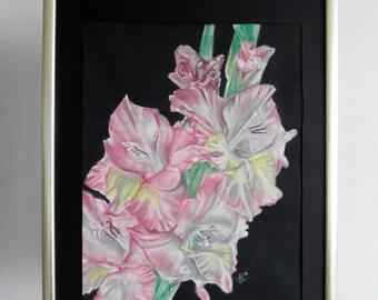 Gladiolus, soft pastel painting the white elegant flowers for man