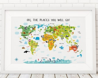 Children's World Map Poster, Unique Baby Gift, Nursery Decor, Nursery Wall Art, Baby Gift, First Birthday Gift, Oh, The Places You Will Go