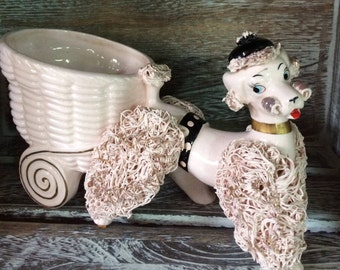 Vintage Lefton's Pink Spaghetti Poodle Planter Pulling a Cart 1950 Collectible Pottery Dog Figurine