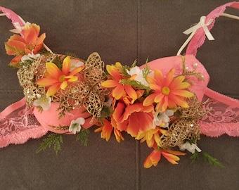 Rave bra, peach, yellow and orange flowers, butterflies
