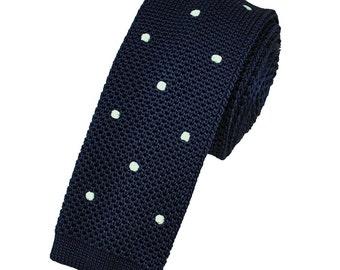 "Skinny Blue Polka Dot Knitted tie 2.16"""