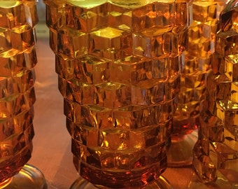 Vintage, excellent condition, amber color Cubist drinking glasses set of six