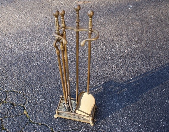 Vintage Brass fireplace tools fire pit tools cabin decor