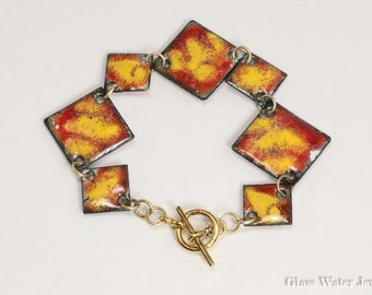 Metal Enamel Bracelet, Rust & Marigold Color, Diamond Shape