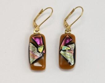 Artistic Glass Pendant, Fused Glass Earrings, Metallic Glass Pendant, Rectangle Earrings
