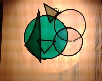 Abstract stained glass sun catcher - teal/clear