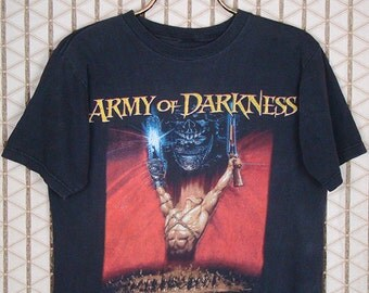 Army of Darkness vintage & rare T-shirt, horror movie, faded black tee shirt, Evil Dead, Zombie, Sam Raimi, Bruce Campbell, Zombie