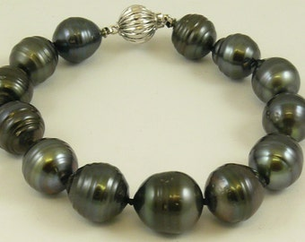 "Tahitian Black 11.5 mm -13.1 mm Pearl Bracelet 14K White Gold Clasp, 7 3/4"" Long"