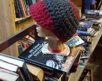Hand crocheted beanie with brim.