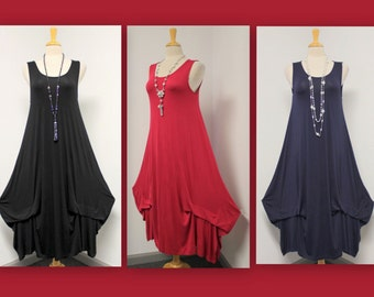 Absolutely gorgeous Artsy,Lagenlook , Balloon Tunic Dress in Solids Navy Regular size.