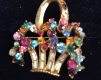 Colourful Basket Brooch