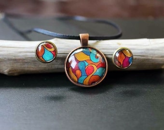 Summer jewelry set, pendant and earrings in bright summer colors
