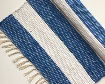 Chindi rag rug. Handmade textile woven rug Navy Blue&White stripes - 100% cotton. Carpet. Great interior design object.