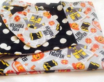 Fire Fighter Baby Blanket and Bib Set
