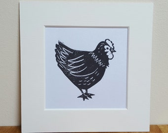 Chicken Original Linocut Mini Print